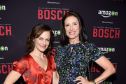 """Acors Sarah Clarke and Mimi Rogers attend the Premiere Of Amazon's """"Bosch"""" Season 2 at SilverScreen Theater at the Pacific Design Center on March 3, 2016 in West Hollywood, California."""