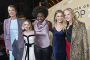 "(L-R) Actors Allison Janney, McKenna Grace, Viola Davis, Lucy Alibar, and Head of Amazon Studios Jennifer Salke arrive at the premiere of Amazon Studios' ""Troop Zero"" at Pacific Theatres at The Grove on January 13, 2020 in Los Angeles, California."