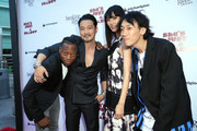 (L-R) Actors Marcus Johnson, Kentez Asaka, Tao Okamoto, and Kihiro attend the premiere of Breaking Glass Pictures' 'She's Just A Shadow'  at ArcLight Hollywood on July 18, 2019 in Hollywood, California.