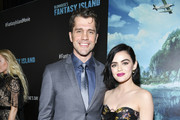 "Jeff Wadlow (L) and Lucy Hale attend the premiere of Columbia Pictures' ""Blumhouse's Fantasy Island"" at AMC Century City 15 on February 11, 2020 in Century City, California."