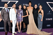 "(L-R) Jonathan Tucker, Luis Gerardo Mendez, Kristen Stewart, Naomi Scott, Ella Balinska, Patrick Stewart, and Elizabeth Banks attend the premiere of Columbia Pictures' ""Charlies Angels"" at Westwood Regency Theater on November 11, 2019 in Los Angeles, California."