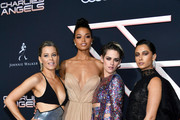"(L-R) Elizabeth Banks, Ella Balinska, Kristen Stewart, and Naomi Scott attend the premiere of Columbia Pictures' ""Charlies Angels"" at Westwood Regency Theater on November 11, 2019 in Los Angeles, California."