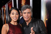 Actors Gina Rodriguez (L) and Esai Morales attend the premiere of Columbia Pictures' 'Miss Bala' at Regal LA Live Stadium 14 on January 30, 2019 in Los Angeles, California.
