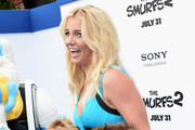 """Singer Britney Spears and her sons Sean Federline and Jayden James Federline attends the premiere Of Columbia Pictures' """"Smurfs 2"""" at Regency Village Theatre on July 28, 2013 in Westwood, California."""