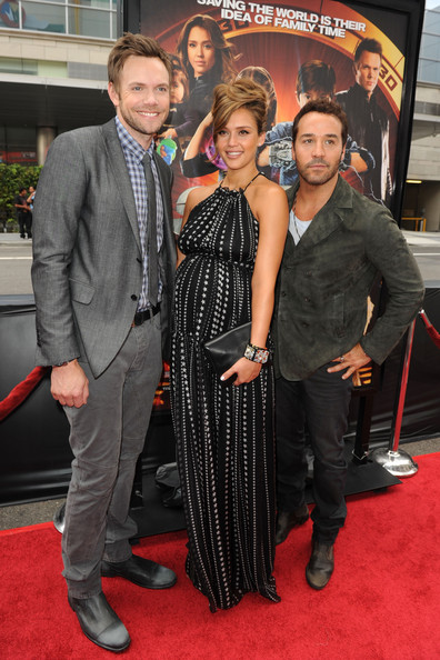 "(L-R) Actors Joel McHale, Jessica Alba and Jeremy Piven arrive at ""Spy Kids: All The Time In The World 4D"" Los Angeles premiere at the Regal Cinemas L.A. Live on July 31, 2011 in Los Angeles, California."