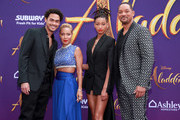 """(L-R) Trey Smith, Jada Pinkett Smith, Willow Smith, and Will Smith attend the premiere of Disney's """"Aladdin"""" on May 21, 2019 in Los Angeles, California."""