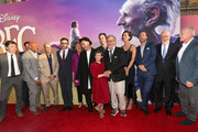 """(L-R) Actors Jonathan Holmes, Paul Moniz de Sa, Daniel Bacon, Chris Gibbs, Jemaine Clement, Penelope Wilton, Mark Rylance, Ruby Barnhill, Bill Hader, director Steven Spielberg, actors Rebecca Hall, Rafe Spall, composer John Williams and producer Frank Marshall arrive on the red carpet for the US premiere of Disney's """"The BFG,"""" directed and produced by Steven Spielberg. A giant sized crowd lined the streets of Hollywood Boulevard to see stars arrive at the El Capitan Theatre. """"The BFG"""" opens in U.S. theaters on July 1, 2016, the year that marks the 100th anniversary of Dahl's birth, at the El Capitan Theatre on June 21, 2016 in Hollywood, California."""