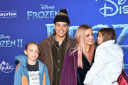 "(L-R) Bronx Wentz, Evan Ross, Ashlee Simpson and Jagger Snow Ross attend the premiere of Disney's ""Frozen 2"" at Dolby Theatre on November 07, 2019 in Hollywood, California."