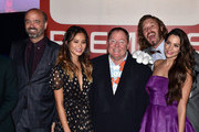 "(L-R) Actors Scott Adsit, Jamie Chung, Chief creative officer at Pixar, Walt Disney Animation Studios, and DisneyToon Studios John Lasseter, actors T.J. Miller and Genesis Rodriguez attend the premiere of Disney's ""Big Hero 6"" at the El Capitan Theatre on November 4, 2014 in Hollywood, California."