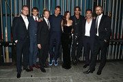 """(L-R) Director Espen Sandberg, Actor Brenton Thwaites, Producer Jerry Bruckheimer, actors Orlando Bloom, Kaya Scodelario, Johnny Depp, Javier Bardem and Director Joachim Ronning at the Premiere of Disney's and Jerry Bruckheimer Films' """"Pirates of the Caribbean: Dead Men Tell No Tales,"""" at the Dolby Theatre in Hollywood, CA with Johnny Depp as the one-and-only Captain Jack in a rollicking new tale of the high seas infused with the elements of fantasy, humor and action that have resulted in an international phenomenon for the past 13 years. May 18, 2017 in Hollywood, California."""