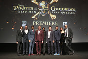 """(L-R) Producer Jerry Bruckheimer, Director Espen Sandberg, actors Brenton Thwaites, Geoffrey Rush, Johnny Depp, Javier Bardem, Orlando Bloom, Kaya Scodelario and Director Joachim Ronning at the Premiere of Disney's and Jerry Bruckheimer Films' """"Pirates of the Caribbean: Dead Men Tell No Tales,"""" at the Dolby Theatre in Hollywood, CA with Johnny Depp as the one-and-only Captain Jack in a rollicking new tale of the high seas infused with the elements of fantasy, humor and action that have resulted in an international phenomenon for the past 13 years. May 18, 2017 in Hollywood, California."""