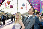"""Actor Anna Faris (L) and Chris Pratt at the premiere of Disney and Marvel's """"Guardians Of The Galaxy Vol. 2"""" at Dolby Theatre on April 19, 2017 in Hollywood, California."""