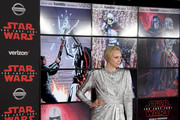 """Actress Gwendoline Christie attends the premiere of Disney Pictures and Lucasfilm's """"Star Wars: The Last Jedi"""" at The Shrine Auditorium on December 9, 2017 in Los Angeles, California."""