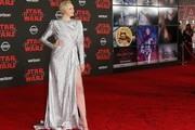 """Actress Gwendoline Christie arrives for the premiere of Disney Pictures and Lucasfilm's """"Star Wars: The Last Jedi"""" at The Shrine Auditorium in Los Angeles on December 9, 2017. / AFP PHOTO / JEAN-BAPTISTE LACROIX"""