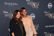 """Eva Longoria (L) and Meagan Good  attend the premiere of Disney's """"A Wrinkle In Time"""" at the El Capitan Theatre on February 26, 2018 in Los Angeles, California."""