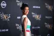 "Gugu Mbatha-Raw attends the premiere of Disney's ""A Wrinkle In Time"" at the El Capitan Theatre on February 26, 2018 in Los Angeles, California."