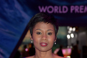 """Emayatzy Corinealdi attends the premiere of Disney's """"A Wrinkle In Time"""" at the El Capitan Theatre on February 26, 2018 in Los Angeles, California."""