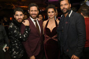 "(L-R) Actors Darren Criss, Edgar Ramirez, Penelope Cruz and Ricky Martin pose at the after party for the premiere of FX's ""The Assassination Of Gianni Versace: American Crime Story"" at the Hollywood Palladium on January 8, 2018 in Los Angeles, California."