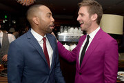"Actors Jeremie Harris (L) and Dan Stevens pose at the after party for the season 2 premiere of FX's ""Legion"" at Soho House on April 2, 2018 in West Hollywood, California."