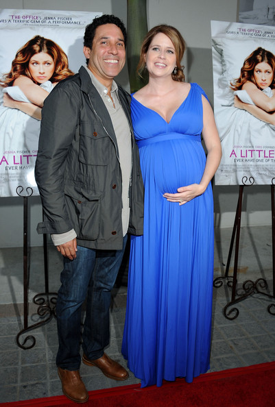 "Actors Oscar Nunez (L) and Jenna Fischer (R)arrive at the Premiere Of Freestyle Releasing's ""A Little Help"" at Sony Pictures Studios on July 14, 2011 in Culver City, California."