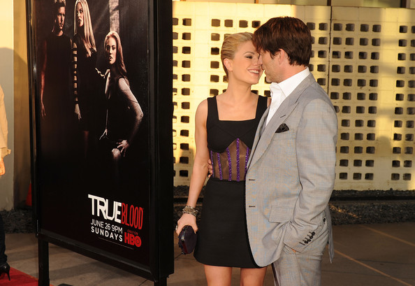 "Actors Anna Paquin and Stephen Moyer arrive at premiere of HBO's ""True Blood"" Season 4 at ArcLight Cinemas Cinerama Dome on June 21, 2011 in Los Angeles, California."