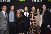 Actor Hugh Dancy, Chief Executive Officer, Hulu, Mike Hopkins, Head of Original Programming at Hulu, Beatrice Springborn, actors Aaron Paul, Michelle Monaghan, President, Universal Television, Bela Bajaria and Senior Vice President, Head of Content, Hulu, Craig Erwich  attend the premiere of Hulu's 'The Path' at ArcLight Hollywood on March 21, 2016 in Hollywood, California.