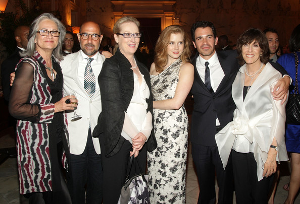 Producer Amy Robinson, actor Stanley Tucci, actress Meryl Streep, actress Amy Adams, actor Chris Messina, and writer/director Nora Ephron attend the