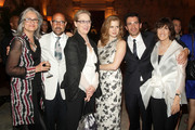 """Producer Amy Robinson, actor Stanley Tucci, actress Meryl Streep, actress Amy Adams, actor Chris Messina, and writer/director Nora Ephron attend the """"Julie & Julia"""" premiere after party at Metropolitan Club on July 30, 2009 in New York City."""