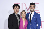 """Cole Sprouse ,Haley Lu Richardson, Justin Baldoni attend the Premiere Of Lionsgate's """"Five Feet Apart"""" at Fox Bruin Theatre on March 07, 2019 in Los Angeles, California."""