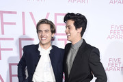 "(L-R) Dylan Spouse and Cole Sprouse attend the Premiere Of Lionsgate's ""Five Feet Apart"" at Fox Bruin Theatre on March 07, 2019 in Los Angeles, California."