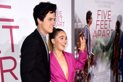 """Cole Sprouse (L) and Haley Lu Richardso arrive at the premiere of CBS Films' """"Five Feet Apart"""" at the Fox Bruin Theatre on March 07, 2019 in Los Angeles, California."""