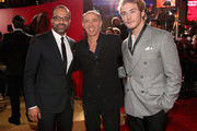 (L-R) Actor Jeffrey Wright, producer Jon Kilik and actor Sam Claflin attend premiere of Lionsgate's 'The Hunger Games: Catching Fire' - Red Carpet at Nokia Theatre L.A. Live on November 18, 2013 in Los Angeles, California.