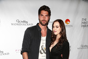 """Nick Bateman and Andrea Bowen attend the Premiere Of MarVista Entertainment's """"Wedding Wonderland"""" on November 12, 2017 in Los Angeles, California."""