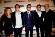 """(L-R) Producers Heidi Jo Markel, Raphael Kryszek, author Ken Baker, actors Johnny Simmons and J.K. Simmons arrive at the premiere of Momentum Pictures' """"The Late Bloomer"""" at the iPic Theaters on October 3, 2016 in Los Angeles, California."""