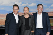 """Bryan Cranston, Aaron Paul and Vince Gilligan attend the premiere of Netflix's """"El Camino: A Breaking Bad Movie"""" at Regency Village Theatre on October 07, 2019 in Westwood, California."""