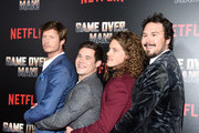 """(L - R) Anders Holm, Adam Devine, Blake Anderson and Kyle Newacheck attend the premiere of Netflix's """"Game Over, Man!"""" at Regency Village Theatre on March 21, 2018 in Westwood, California."""