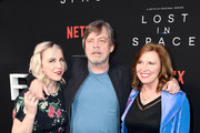 """(L-R) Chelsea Hamill, Mark Hamill, and Marilou York attend the premiere of Netflix's """"Lost In Space"""" Season 1 at The Cinerama Dome on April 9, 2018 in Los Angeles, California."""