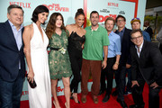 Netflix Chief Content Officer Ted Sarandos, actress Catherine Bell, actress Kathryn Hahn, actress Paula Patton, comedian Adam Sandler, comedian David Spade, director Steven Brill, comedian Nick Swardson and comedian Allen Covert attend the premiere of Netflix's 'The Do Over' at Regal LA Live Stadium 14 on May 16, 2016 in Los Angeles, California.