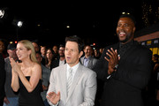 """(L-R) Iliza Shlesinger, Mark Wahlberg, and Winston Duke attend the Premiere of Netflix's """"Spenser Confidential"""" at Regency Village Theatre on February 27, 2020 in Westwood, California."""