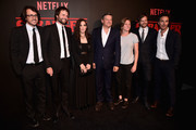Executive producer Dan Cohen, creator/executive producer Ross Duffer, actress Winona Ryder, Chief Content Officer for Netflix, Ted Sarandos, VP of Original Content for Netflix Cindy Holland, creator/executive producer Matt Duffer and executive producer Shawn Levy attend the Premiere of Netflix's 'Stranger Things' at Mack Sennett Studios on July 11, 2016 in Los Angeles, California.