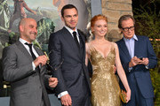 """(L-R) Actors Stanley Tucci, Nicholas Hoult, Eleanor Tomlinson, and Bill Nighy attend the premiere of New Line Cinema's """"Jack The Giant Slayer"""" at TCL Chinese Theatre on February 26, 2013 in Hollywood, California."""