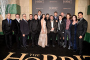 "(L-R) Actors Jed Brophy, William Kircher, composer Howard Shore, actors Dean O'Gorman, Stephen Hunter, Lee Pace, Evangeline Lilly, Andy Serkis, writer/director/producer Peter Jackson, actors Richard Armitage, Graham McTavish, Elijah Wood and Orlando Bloom, writer/co-producer Philippa Boyens and actor Manu Bennett attend the premiere of New Line Cinema, MGM Pictures and Warner Bros. Pictures' ""The Hobbit: The Battle of the Five Armies"" at Dolby Theatre on December 9, 2014 in Hollywood, California."