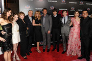 """(L-R) Actors Jennifer Garner, Emma Roberts, Shirley MacLaine, director Garry Marshall, actors Julia Roberts, Bradley Cooper, Ashton Kutcher, and Carter Jenkins arrives at the premiere of New Line Cinema's """"Valentine's Day"""" held at Grauman's Chinese Theatre on February 8, 2010 in Los Angeles, California."""