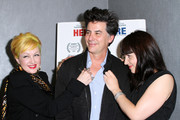 Cyndi Lauper, David Thornton and Jelena Mrdja attends the premiere of ''Here & There'' at Quad Cinema on May 14, 2010 in New York City.
