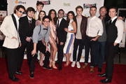 "Actors Adan Allende, Michael Chey, Aidan Alexander, Jill Cimorelli, Brendan Calton, Meg DeLacy, Director Benny Fine, actors Danielle Campbell, Logan Shroyer, Cameron Palatas, Ian Ziering and Joel Courtney attends the premiere Of Orchard And Fine Brothers Entertainment's ""F*&% The Prom"" at ArcLight Hollywood on November 29, 2017 in Hollywood, California."