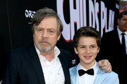"Mark Hamill (L) and Gabriel Bateman arrive at the premiere of Orion Pictures and United Artists Releasing"" ""Child's Play"" at ArcLight Hollywood on June 19, 2019 in Hollywood, California."