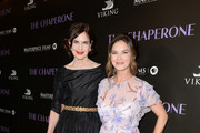 """Elizabeth McGovern and Victoria Hill attend the Premiere Of PBS' """"The Chaperone"""" at Linwood Dunn Theater on April 3, 2019 in Los Angeles, California."""
