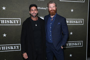 """Sunny Dhillon and Derek Theler attend the premiere of Paramount Pictures' """"68 Whiskey""""  at Sunset Tower on January 14, 2020 in Los Angeles, California."""