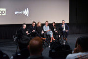 "The cast of ""Schitt's Creek"" speaks on stage during a Q&A during the premiere of ""Schitt's Creek"" season 4 on January 16, 2018 in Hollywood, California."