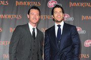 """Actors Luke Evans and Henry Cavill arrive at Relativity Media's """"Immortals"""" premiere presented in RealD 3 at Nokia Theatre L.A. Live at Nokia Theatre L.A. Live on November 7, 2011 in Los Angeles, California."""
